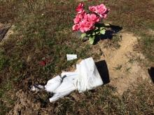 Vandals caused damage at Lakeside Memorial Gardens cemetery in Lillington.