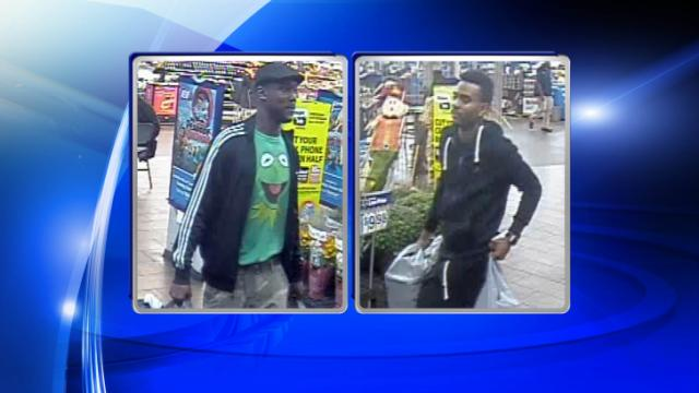 Images from a security video in a Fayetteville Walmart story show two men Cumberland County deputies are looking for in connection with numerous thefts throughout the county.