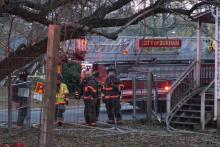 Five people were displaced Friday evening after a home owned by the Durham Rescue Mission caught fire. (Bill Herrero/WRAL)