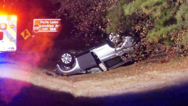 A man crashed his vehicle off Capital Boulevard in Wake Forest on Saturday after suffering an apparent heart attack while he was driving, authorities said.