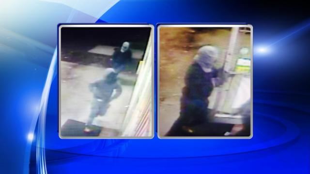 Two men wearing black and gray hooded sweatshirts entered the BP Gas Station, 1711 Clinton Road, at about 8:45 p.m. One of the men brandished a silver handgun, police said. The men obtained money from the clerk before fleeing the area.