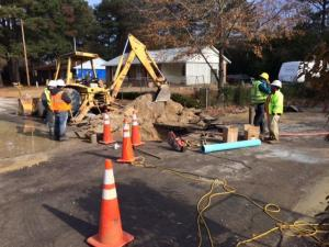 Crews from the Overhills Water Company made repairs to a water main Thursday in the hopes of restoring service to the Overhills Park neighborhood.