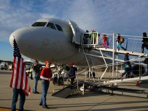 Dozens of children of fallen service members from Fayetteville will head south Thursday morning aboard the Snowball Express, a nonprofit program that flies family members somewhere fun. (Photo by John Cox)