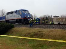 An Amtrak passenger train traveling through Mebane hit a van on a railroad track near U.S. Highway 70 just before 12:45 p.m. on Dec. 16, 2104. One person inside the van was killed.