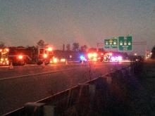 Two people were injured in a three-vehicle crash on Interstate 40 West that temporarily closed three lanes near Exit 285 at Aviation Parkway on Jan. 1, 2015.