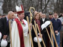 The Catholic Diocese of Raleigh broke ground Saturday on a cathedral in southwest Raleigh that will seat 2,000 worshippers when it's finished. (Photos by Keith Baker)