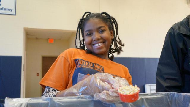 Students and volunteers assembled soup kits during the MLK Day of Service at St. Mary's School in Raleigh.