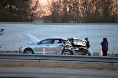 A crash shut down northbound Interstate 95 on Saturday evening near Micro. Photo by John Payne