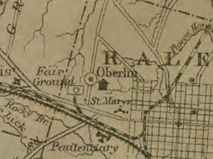 A historic map of Oberlin Village in Raleigh