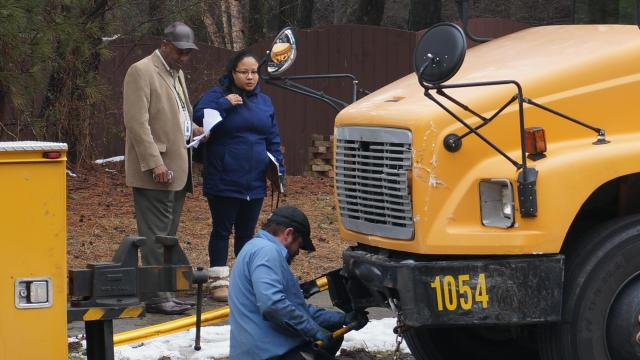 A school bus carrying 16 students to Baucom Elementary School was involved in a crash with a vehicle on Monday morning, March 2, 2014, according to school and law enforcement officials.