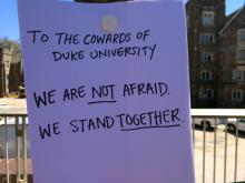 Duke University students declare their anger and disgust after a noose was found hanging from a tree outside Bryan Center on April 1, 2015.