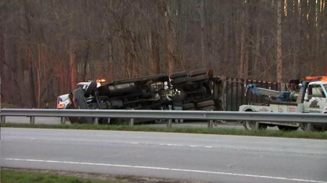 Authorities shut down all northbound lanes of U.S. Highway 1 south of Franklinton early Thursday after a tractor-trailer overturned.