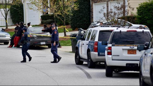 Two men were shot on the 3500 block of Marshlane Way Thursday afternoon, Raleigh police said. (Adam Owens/WRAL)