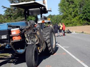 Motorcycle-mower crash