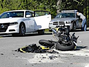 A motorcyclist was killed on April 24, 2015, following a collision with a tractor mowing along the shoulder of N.C. Highway 42 east of Clayton. (Photo by John Payne)