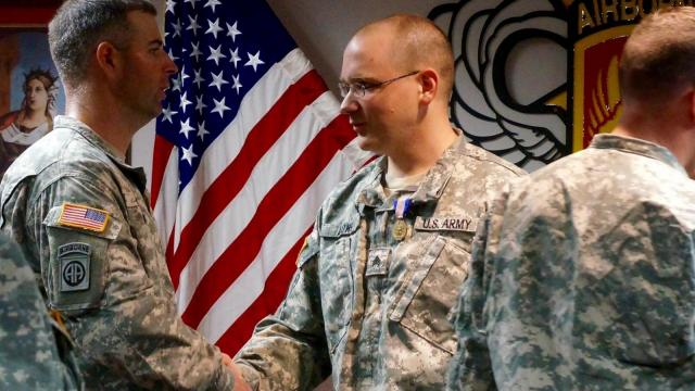 Sgt. George D. Long, of the 18th Field Artillery Brigade, XVIII Airborne Corps, was awarded the Soldier's Medal Friday in a ceremony on Fort Bragg.