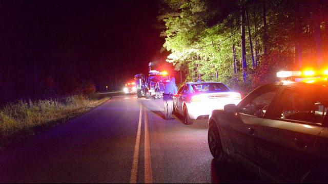 One person was killed Tuesday night in a motorcycle wreck at Buckhorn Duncan Road and Duncan Cook Road, located near the Harnett County line. (John Payne/WRAL Contributor)