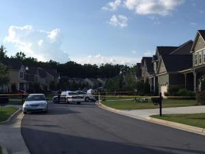 Homes inside an Apex subdivision were evacuated after a package exploded inside a vehicle Thursday afternoon. (Derek Medlin/WRAL)