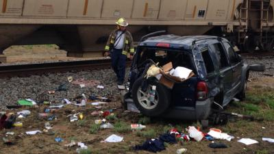 A driver died Wednesday afternoon after his Jeep Liberty was hit by a freight train traveling through Mount Olive.