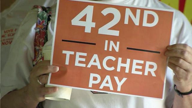 Teachers and supporters rallied in Raleigh June 6, 2015, speaking out on what they call the state's chronic lack of funding for public schools.