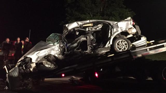 One person was killed Wednesday night after a pickup truck ran a stop sign and hit a vehicle at the intersection of Young and Benson roads near Angier, the North Carolina State Highway Patrol said. (John Payne/WRAL Contributor)
