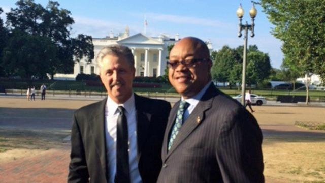 Fayetteville Police Chief Harold E. Medlock and Mayor Nat Robertson at the White House July 23, 2015.