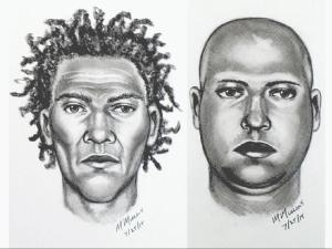 Duke University Police released this sketch of the two suspects from an armed robbery committed along Swift Avenue on July 24, 2015.