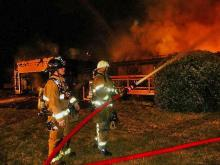 Six people and three dogs were displaced early Wednesday after fire destroyed a home in the Moore County town of Pinebluff.