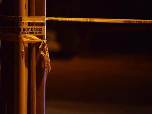 Police tape, night