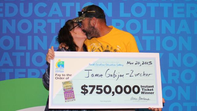 James Zurcher Jr. and Jaime Gabijan-Zurcher, of Raeford, won $750,000 Thursday on a $10 Jumbo Bucks ticket, the North Carolina Education lottery announced Friday.