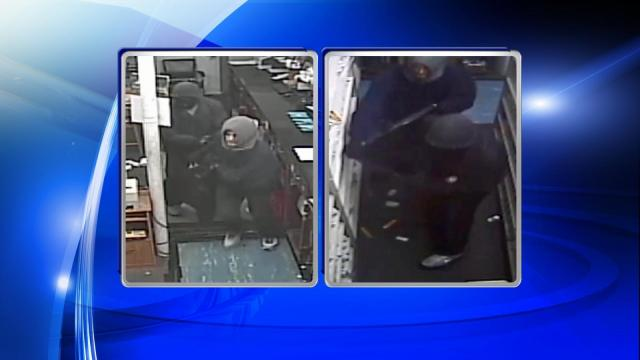 Dunn police are searching for two men who broke into a pharmacy Saturday afternoon.