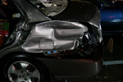 A child was among three people taken to the hospital on Monday night after a woman crashed her vehicle into several cars in a Raleigh apartment parking lot.