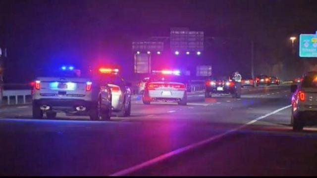 Two westbound lanes on I-40 were closed Tuesday night as authorities responded to the crash near Airport Boulevard.