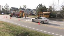 No students were injured in a three-vehicle accident on Thursday morning involving a Wake County school bus, officials said.