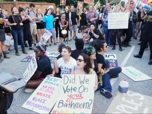 Opponents of HB2 gathered outside the governor's mansion in the days after the so-called 'bathroom ordinance' was passed.