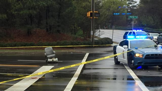 A 75-year-old man in a wheelchair was hit and killed Sunday morning near the intersection of Raleigh and Martin Luther King boulevards, authorities said.
