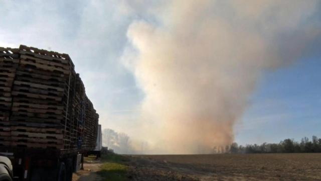 A brush fire on Saturday afternoon spread to a pallet company in Dunn and prompted a response from 17 fire departments from four counties.