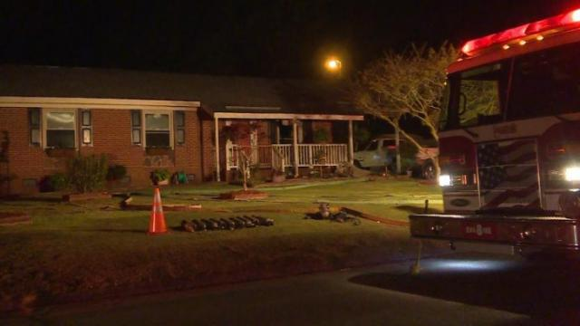 Two people were injured when flames engulfed their Fayetteville home early Monday morning.