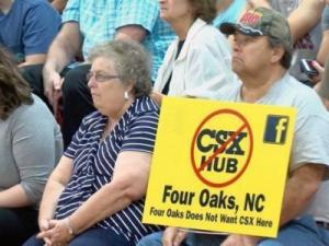 People opposed to a CSX cargo hub in Johnston County had their chance to speak out Monday evening.