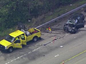 Two workers suffered life-threatening injuries after being struck by a driver on Interstate 440 Tuesday afternoon.