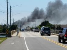Fire reported at Wrightsville Beach surf shop. (Photo courtesy: Susan Harris)