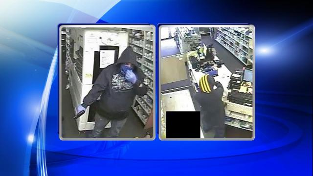Authorities said that two men wearing masks entered Wayne Pharmacy at 2303 Wayne Memorial Drive at about 1:10 p.m.