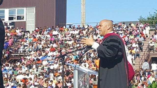 Sen. Cory Booker addressed grads at NC Central's 2016 commencement