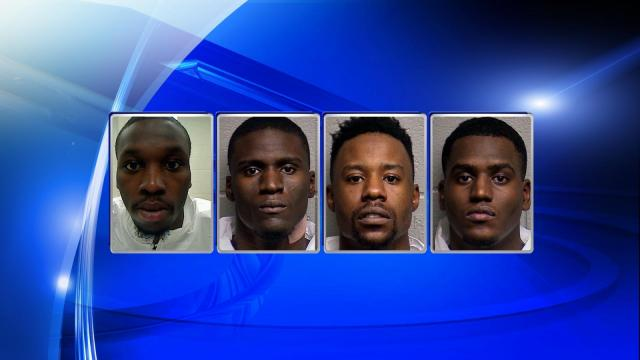 Armand Devone Mullen, 25, Dallas Cogdell III, 23, Tyquan Maccutcheon, 23, all of Hampton Virginia, and Dikembwe Jones, 24, of Newport News, Virginia, were all charged with three counts of robbery with a dangerous weapon, three counts of second-degree kidnapping and one count of felony conspiracy.