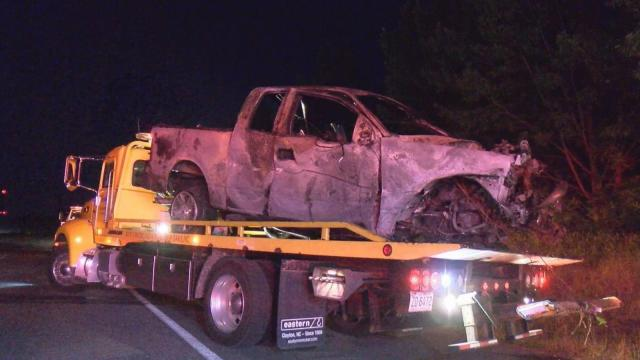 A driver sustained minor injuries after his pickup truck crashed early Saturday morning on Interstate 40.