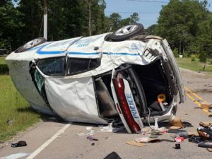 Overturned Vass patrol car