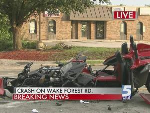 Two-vehicle wreck closes Wake Forest Road