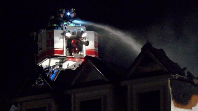 Dozens of firefighters from 10 departments responded on Thursday night to a fire at a home near Mt. Olive that took hours to control.