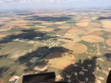 Jan Squillace flies over irrigation fields in Texas during the 2,700-mile Air Race Classic. Photo courtesy of Jan Squillace