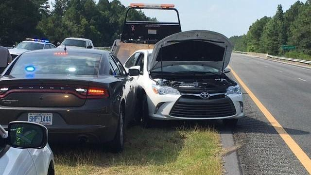 Troopers with the North Carolina State Highway Patrol ended a high-speed chase on Interstate 40 in Duplin County Tuesday morning by crashing a fleeing vehicle near the Pender County line.